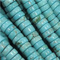 Natural Turquoise heishi beads, green treated, approx 8mm dia