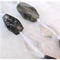 clear quartz and smoky quartz beads, freeform, approx 18-32mm, 15.5 inches