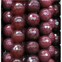 red jade bead, round, approx 8mm dia, 48pcs per st