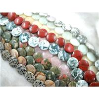 mixed Gemstone Beads, coin round, 25mm dia, 16pcs per st