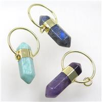 mix gemstone bullet pendant, gold plated, approx 13-55mm