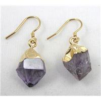 amethyst earring, freeform, gold plated, approx 10-15mm