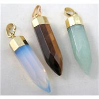mixed gemstone pendant, bullet, gold plated, approx 10x40mm