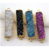 druzy quartz connector, mix color, rectangle, gold plated, approx 10-40mm