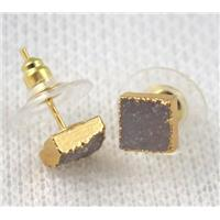 druzy agate earring natural color, square, gold plated, approx 7x7mm