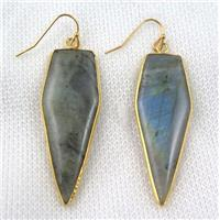 labradorite bullet earring, gold plated, approx 16-50mm