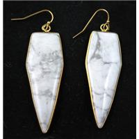 white howlite tuquoise earring, bullet, gold plated, approx 16-50mm