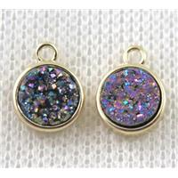 rainbow druzy quartz pendant, flat-round, copper, gold plated, approx 8mm dia