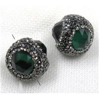 green crystal glass beads pave black rhinestone, round, approx 25mm dia