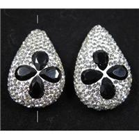 black crystal glass beads pave white rhinestone, teardrop, approx 20-30mm