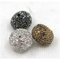 resin beads paved rhinestone, rondelle, mix color, approx 10x14mm