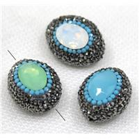 crystal glass bead paved black rhinestone, mix color, oval, approx 20-28mm