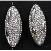 crystal glass beads paved rhinestone, white, rice shape, approx 15-35mm