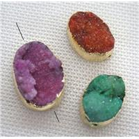 druzy quartz beads, mix color, freeform, gold plated, approx 12-20mm