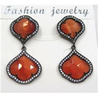 red cat eye stone earring pave zircon, clover, approx 13x13mm, 16x16mm