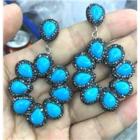blue turquoise earring studs pave rhinestone, approx 10-12mm, 40mm