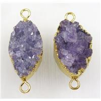 purple Amethyst druzy connector, gold plated, approx 15-30mm