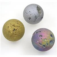 round Agate druzy ball charms, no-hole, mix color