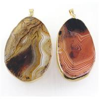 Stripe Agate slice pendants, freeform, mix color, gold plated, approx 30-80mm