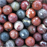 red Apple Jasper beads, faceted round, approx 6mm dia