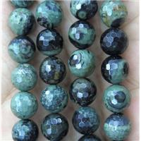 green Kambaba Jasper beads, faceted round, approx 8mm dia