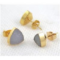 druzy agate earring studs, copper, triangle, gold plated, approx 8mm dia