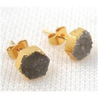 druzy agate earring studs, copper, gold plated, approx 8mm