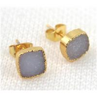 druzy agate earring studs in natural color, copper, square, gold plated, approx 8x8mm