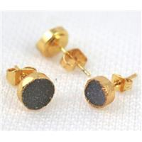 druzy agate earring studs, copper, flat-round, gold plated, approx 8mm dia