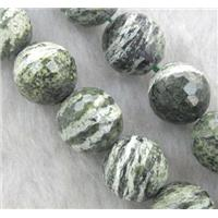 Natural Green Silver-line Jasper Beads, faceted round, approx 14mm dia, 15.5 inches