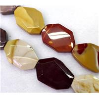 Mookaite beads, slice, faceted freeform, approx 25x35mm