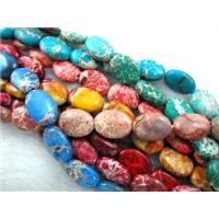 Sea Sediment Beads, flat oval, mixed color, 13x18mm, 22pcs per st