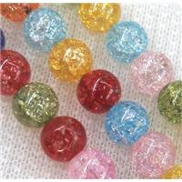 round crackle glass crystal beads, mixed color, approx 8mm dia, 15.5 inches