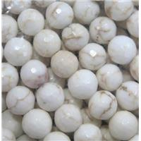 white Assembled Turquoise beads, faceted round, approx 10mm dia