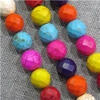 synthetic Turquoise beads, faceted round, mix color, approx 8mm dia