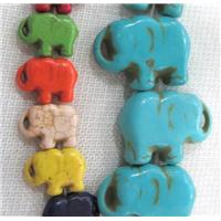 synthetic Turquoise beads, elephant, mixed color, approx 25x35mm