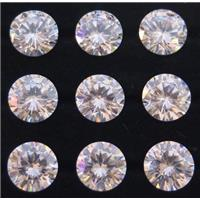 white Cubic Zirconia cabochon, drip diamond shaped, approx 8mm dia
