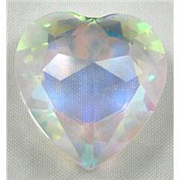 Cut Glass Crystal Cabochon, Heart, Clear AB-color