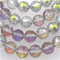Chinese Crystal Glass Beads, faceted round, green purple, approx 12mm, 50pcs per st
