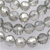 Chinese Crystal Glass Beads, faceted round, half silver, approx 10mm, 72pcs per st