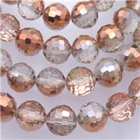 Chinese Crystal Glass Beads, faceted round, half red, approx 10mm, 72pcs per st