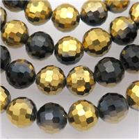 black Chinese Crystal Glass Beads, faceted round, half gold plated, approx 10mm, 72pcs per st