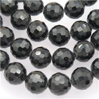 black Chinese Crystal Glass Beads, faceted round, approx 10mm, 72pcs per st