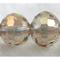 Crystal Glass Beads, 96 faceted round, Champagne AB color, 8mm dia