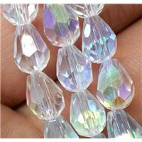 Chinese crystal glass bead, faceted teardrop, white AB color, approx 8x12mm, 60pcs per st