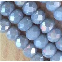 Chinese crystal glass bead, faceted rondelle, AB color, approx 2x3mm dia, 150pcs per st