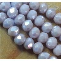 Chinese crystal glass beads, faceted rondelle, lt.purple AB color, approx 2x3mm dia, 150pcs per st