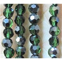 Chinese crystal glass bead, faceted round, 4mm dia, 100pcs per st