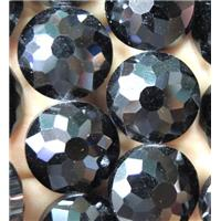 Chinese crystal glass bead, faceted flat round, black, approx 18mm dia, 18pcs per st