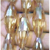 Chinese crystal glass bead, faceted rice, approx 13x32mm, 10pcs per st